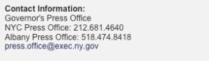Governor Cuomo Media Contact