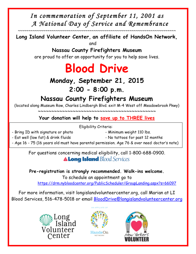 Blood Drive Sept 21 2015 flyer 2