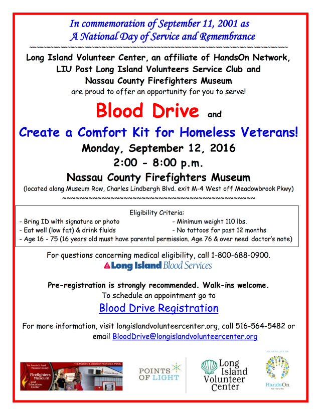 Blood Drive Sept 12 2016 LIU Post